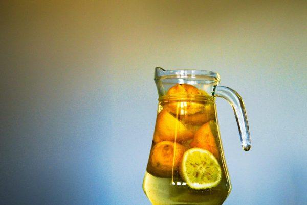 lemon fruit infused water jug
