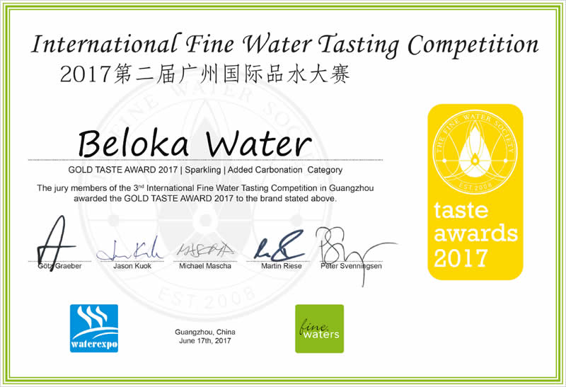 Beloka Water certificate water tasting competition gold