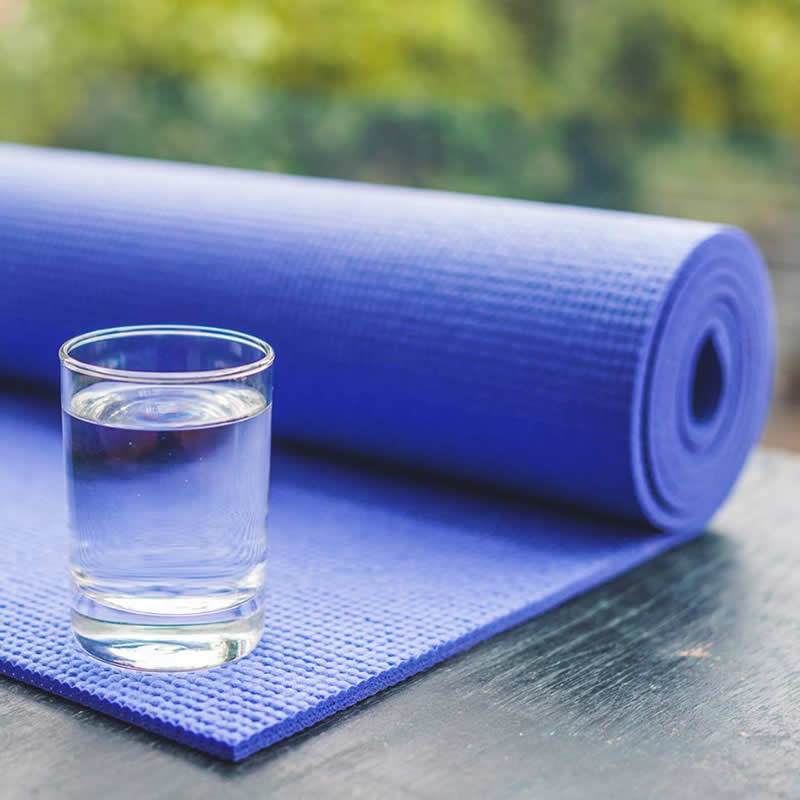 water glass yoga mat