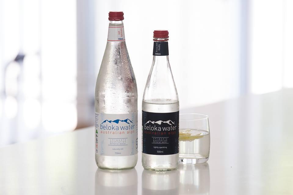 beloka water still and sparkling on kitchen bench